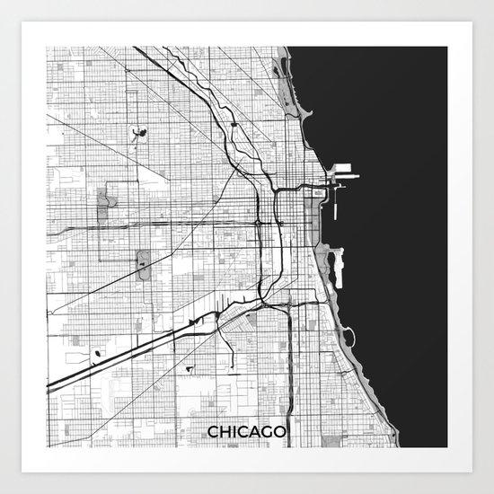 Chicago Map Gray by hubertroguski