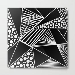 Black white geometric trendy artistic stripes polka dots Metal Print