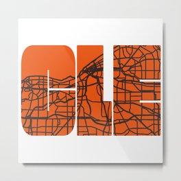 Cleveland Ohio Map City Street Maps Home OH Pride Vintage Print Metal Print