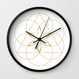 Modern Minimalist Sacred Geometry Symbol, Geometric Flower of Life in Gold and White Abstract Luxury Wall Clock