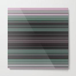 Mint Green Pink Stripes Metal Print