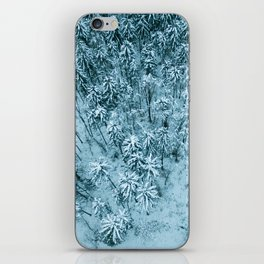 Aerial view of winter snow covered forest landscape. Drone photography collection. iPhone Skin