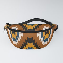 Brown yellow and white geometric tribal pattern Fanny Pack