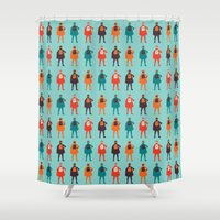 heroes Shower Curtains featuring Heroes by Tomas Hudolin