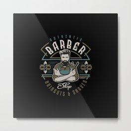 Authentic Barber Shop Metal Print