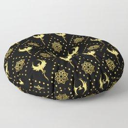 Gold Phoenix and lotus symbol pattern on black Floor Pillow