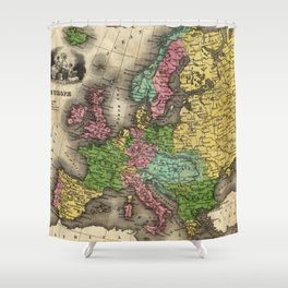 Vintage Map of Europe (1842) Shower Curtain