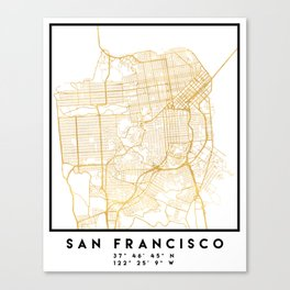 SAN FRANCISCO CALIFORNIA CITY STREET MAP ART Canvas Print