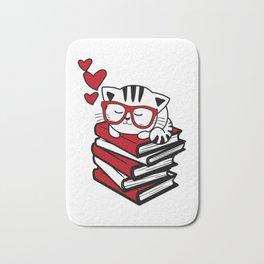 Reading Gift Funny Cat Book Reader Geek Glasses Bookworm Bath Mat