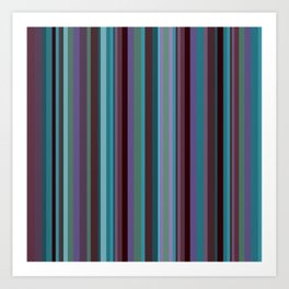 Retro Stripe in Blueberries and Orchids Art Print
