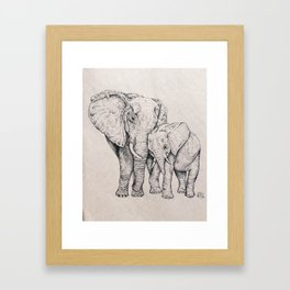 Elephant and Baby Framed Art Print