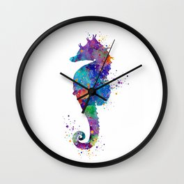Seahorse Colorful Watercolor Silhouette Gift Wall Clock