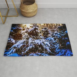 Winter Sunset In A Softwood Forest Rug
