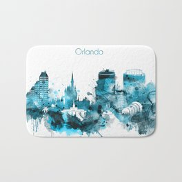 Orlando Monochrome Blue Skyline Bath Mat