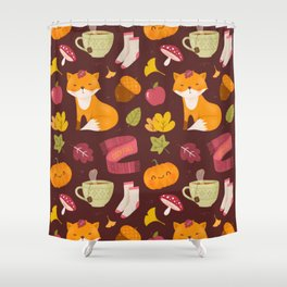 Cozy Fall - Dark Version - Pattern Shower Curtain