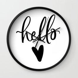HELLO LOVE by DearLilyMae Wall Clock
