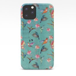 Vintage Watercolor hummingbirds and fuchsia flowers iPhone Case