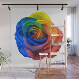 Multicolour Rose on White Wall Mural