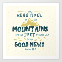 """""""How Beautiful on the Mountains"""" Hand-Lettered Bible Verse Art Print"""