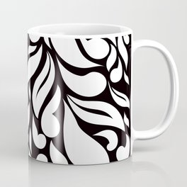Abstract Leaves - Black and White Coffee Mug