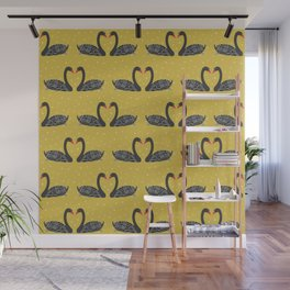 Black Swan on Mustard yellow Wall Mural