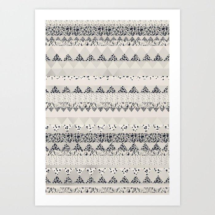 MONOTONE  GEOMETRIC ANIMAL PRINT  Art Print