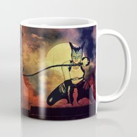 catwoman Mugs featuring catwoman by Ancello