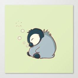 Sleepy baby penguin Canvas Print