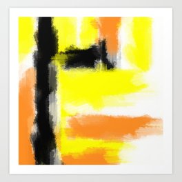 orange yellow and black painting abstract with white background Art Print