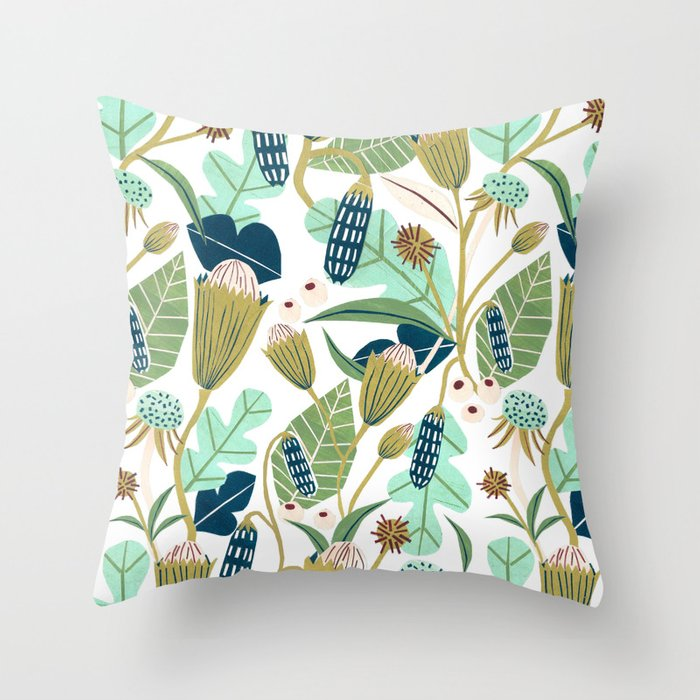 Folk Florals Throw Pillow