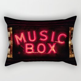 The Music Box Neon Sign Chicago Illinois Arthouse Theatre Vintage Cinema Movie House Theater Rectangular Pillow