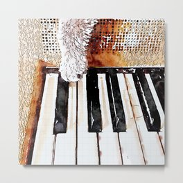 Cat Paw Piano Metal Print
