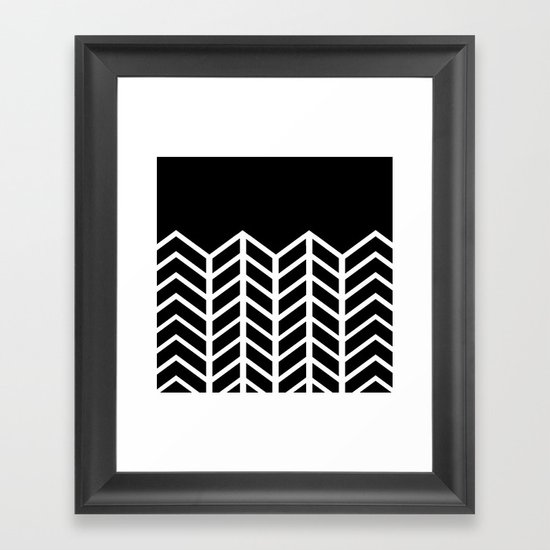 BLACK LACE CHEVRON Framed Art Print