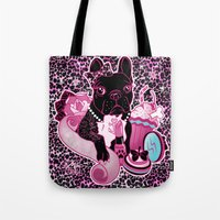 frenchie Tote Bags featuring Frenchie by Miss Cherry Martini