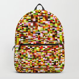 Red yellow pixel noise static pattern Backpack