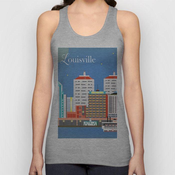 Louisville, Kentucky - Skyline Illustration by Loose Petals Unisex Tank Top