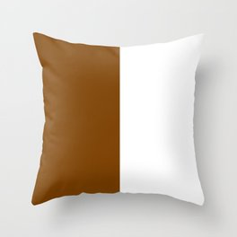 White and Chocolate Brown Vertical Halves Throw Pillow