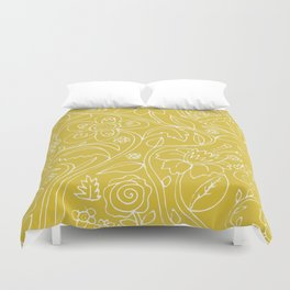 Garden Floral Drawing on Yellow Duvet Cover