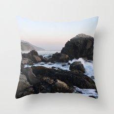 Crashing Waves at Dusk on a Big Sur Beach Throw Pillow
