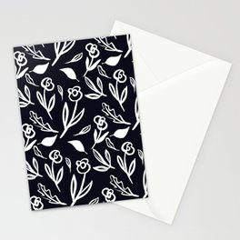 Black and white flower pattern design Stationery Cards