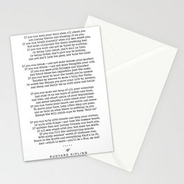 If - Rudyard Kipling - Minimal, Sophisticated, Modern, Classy Typewriter Print Stationery Cards