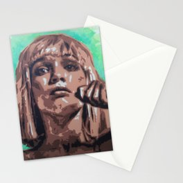 Sia`s Maddie stencil art and watercolor painting Stationery Cards