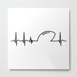 American Football Team Heart Heartbeat Gift Idea Metal Print