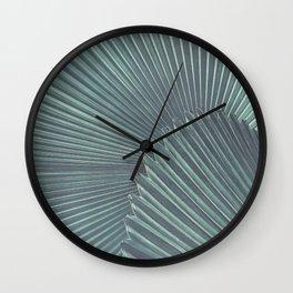 Tropical Palm Leaf Matte Teal Wall Clock