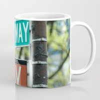 broadway Mugs featuring Sign Broadway 5 Ave by Premium