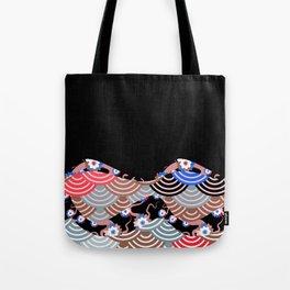Nature background with japanese sakura flower Cherry, black wave circle pattern Tote Bag