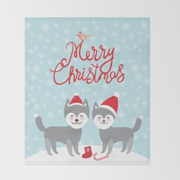 Merry Christmas New Year's card design funny gray husky dog in red hat, Kawaii face with large eyes Throw Blanket