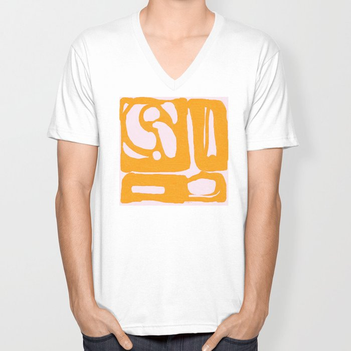 Abstract in Yellow and Cream Unisex V-Neck
