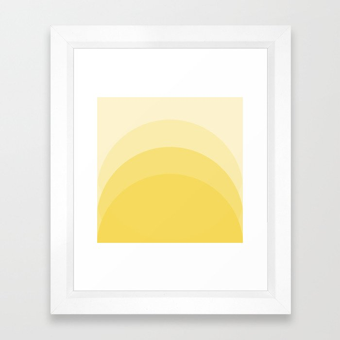 Four Shades of Yellow Curved Framed Art Print