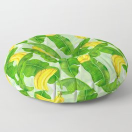 Bananas and leaves watercolor design Floor Pillow